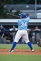 Xavier Fernandez (34) of the Burlington Royals at bat against the Pulaski Yankees at Burlington Athletic Park on August 6, 2015 in Burlington, North Carolina.  The Royals defeated the Yankees 1-0. (Brian Westerholt/Four Seam Images)