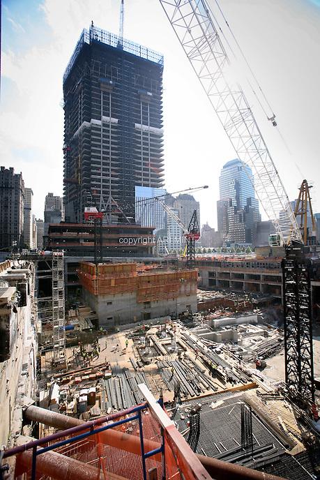 Tenth anniversary of 9/11.  Rebuilding at the World Trade Center site.  4 World Trade Center under-construction at Ground Zero.  Photo by Ari Mintz.  8/10/2011.