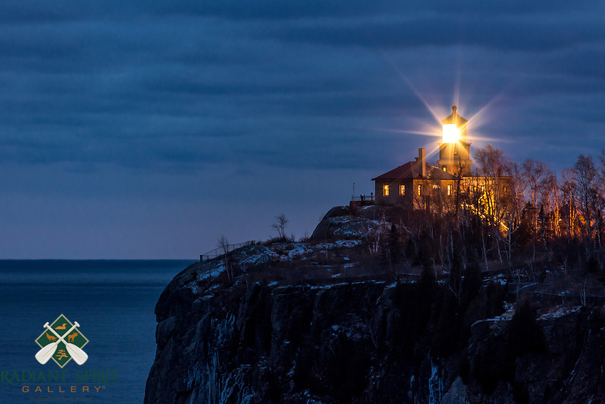 """""""Split Rock Lighthouse Lighting""""<br /> <br /> Split Rock Lighthouse shines its beacon during the annual remembrance ceremony. On November 10, 1975, a fierce storm on Lake Superior claimed the Edmund Fitzgerald and her 29 crew. Seeing the beacon lit is a solemn reminder of the many lives that have been claimed by the Great Lakes."""