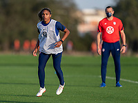 ORLANDO, FL - JANUARY 21: Catarina Macario #29 of the USWNT looks to the ball during a training session at the practice fields on January 21, 2021 in Orlando, Florida.