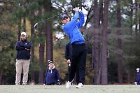 PINEHURST, NC - MARCH 02: Jimmy Zheng of Duke University tees off on the 18th hole at Pinehurst No. 2 on March 02, 2021 in Pinehurst, North Carolina.