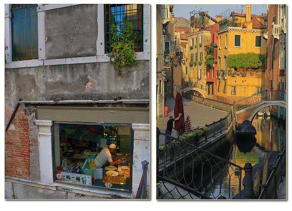 Italy, Venice.  <br /> The golden morning light is wonderful for photography, not only because its color temperature is warmer, but the contrast range is less (right photo). This means, when you expose for the bright areas (highlights), the shadows will be less dark and provide more color and detail than at mid-afternoon. <br /> The left photo was take at noon. Here, I composed the entire image in the shadows, with no bright areas (highlights). This mimics a cloudy sky and a low contrast range. This diffuse light yields great detail and color saturation. Restaurants in Venice, Italy.