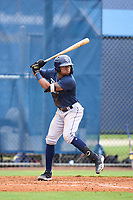 Tampa Bay Rays Christian Johnson bats during an Extended Spring Training intrasquad game on June 15, 2021 at Charlotte Sports Park in Port Charlotte, Florida.  (Mike Janes/Four Seam Images)