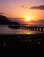 Hanalei Bay Pier at Sunset, Kauai, Hawaii, USA.