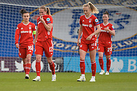 2nd May 2021; Kingsmeadow, London, England;  Bayern Munich players Lina Magull, Sydney Lohmann, Lea Schuller and Marina Hegering FCB show their frustration at the end of the UEFA Womens Champions League, Chelsea FC versus FC Bayern Munich