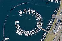 4415/Burgtiefe:EUROPA, DEUTSCHLAND, SCHLESWIG- HOLSTEIN, 07.06.2005:  Yachthafen Burgtiefe auf der Ostsee Ferien Insel Fehmarn, Wasser, Wassersport, rund, Segelboot, Hafen,  Luftaufnahme, Luftbild,  Luftansicht