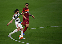 Football: Uefa Europa League - semifinal 2nd leg AS Roma vs Manchester United Olympic Stadium. Rome, Italy, May 6, 2021.<br /> Manchester United's Edinson Cavani (L) socres in spite of Roma's Roger Ibanez (R) during the Europa League football match between Roma and Manchester United at Rome's Olympic stadium, Rome, on May 6, 2021.  <br /> UPDATE IMAGES PRESS/Isabella Bonotto