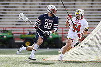 College Park, MD - February 15, 2020: Penn Quakers attack Sean Lulley (22) tries to avoid Maryland Terrapins defender Nick Grill (54) during the game between Penn and Maryland at  Capital One Field at Maryland Stadium in College Park, MD.  (Photo by Elliott Brown/Media Images International)