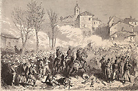 Spain. Third Carlist War. Savall's Carlist troops attacks the city of Berga (March 1873). Engraving. SPAIN. Madrid. National L