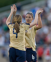 Natasha Kai congratulates Heather O'Reilly after scoring a goal..International friendly, USA Women vs Mexico, Albuquerque, NM,.October 20, 2006..USA 1, Mexico 1.
