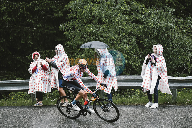 Polka Dot Jersey Wout Poels (NED) Bahrain Victorious on the Col du Pré during Stage 9 of the 2021 Tour de France, running 150.8km from Cluses to Tignes, France. 4th July 2021.  <br /> Picture: A.S.O./Pauline Ballet | Cyclefile<br /> <br /> All photos usage must carry mandatory copyright credit (© Cyclefile | A.S.O./Pauline Ballet)