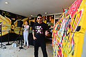 CORAL GABLES, FL - MAY 25: Singer AYASH and Artist Nino, winner of 'creative people pizza from the art' performs live at P. Pole Pizza 3rd anniversary on May 25, 2021 in Coral Gables, Florida.  ( Photo by Johnny Louis / jlnphotography.com )