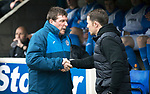 St Johnstone v Partick Thistle…13.05.17     SPFL    McDiarmid Park<br />Tommy Wright and Alan Archibald before kick off<br />Picture by Graeme Hart.<br />Copyright Perthshire Picture Agency<br />Tel: 01738 623350  Mobile: 07990 594431