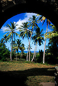 Praia do Forte, Bahia State, Brazil; palm trees and the sea seen through an arch of the fort.