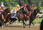 5 September 2009: Rachel Alexandra and jockey Calvin Borel (3) work for position at the start of the Woodward Stakes at Saratoga Race Track in Saratoga Springs, New York