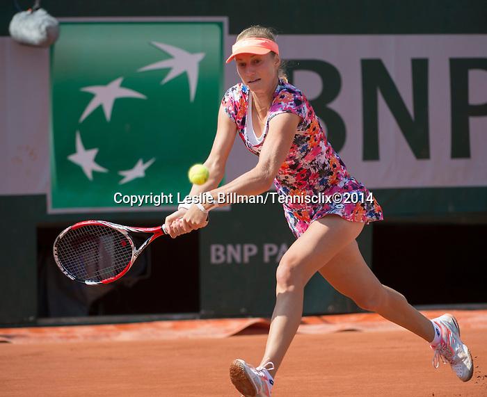 Ekaterina Makarova (RUS) loses to Sloane Stephens, (USA) 6-3, 6-4 at  Roland Garros being played at Stade Roland Garros in Paris, France on May 31, 2014