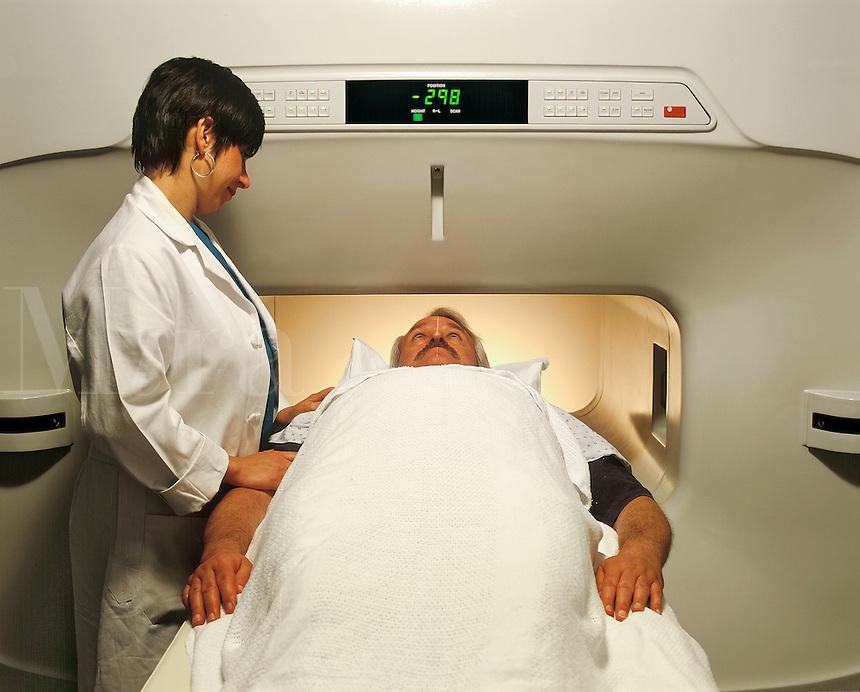Technician administering an MRI