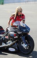 Jul. 18, 2010; Sonoma, CA, USA; NHRA pro stock motorcycle rider Angie Smith during the Fram Autolite Nationals at Infineon Raceway. Mandatory Credit: Mark J. Rebilas-