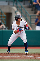 Brooklyn Cyclones Raul Beracierta (25) squares to bunt during a NY-Penn League game against the Tri-City ValleyCats on August 17, 2019 at MCU Park in Brooklyn, New York.  Brooklyn defeated Tri-City 2-1.  (Mike Janes/Four Seam Images)