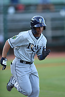 Jelfry Marte (5) of the Princeton Rays runs to first base against the Elizabethton Twins at Northeast Community Credit Union Ballpark on July 23, 2019 in Elizabethton, Tennessee. The Rays defeated the Twins 8-3. (Tracy Proffitt/Four Seam Images)