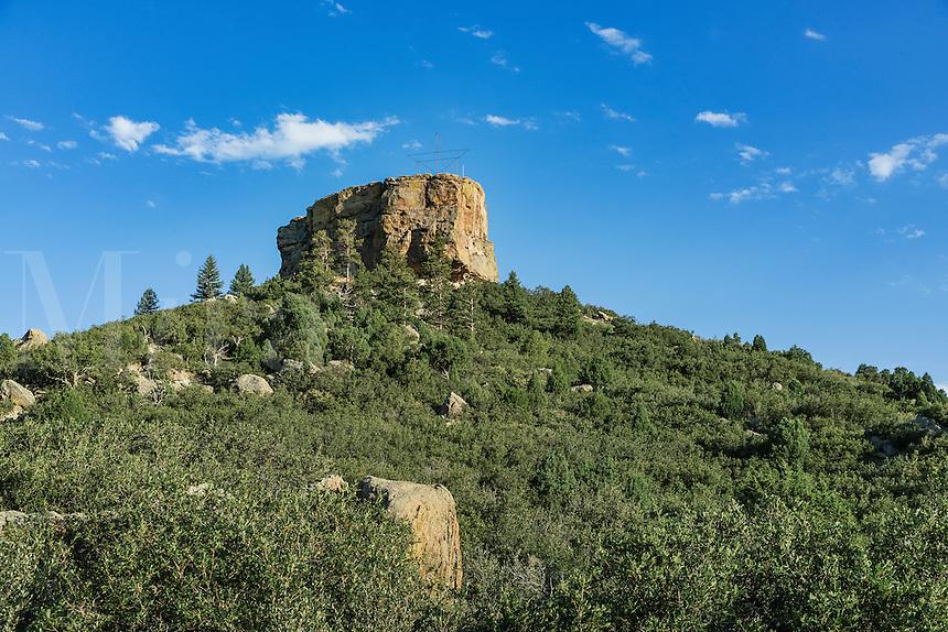 Castle Rock landmark, Castle Rock, Colorado, USA