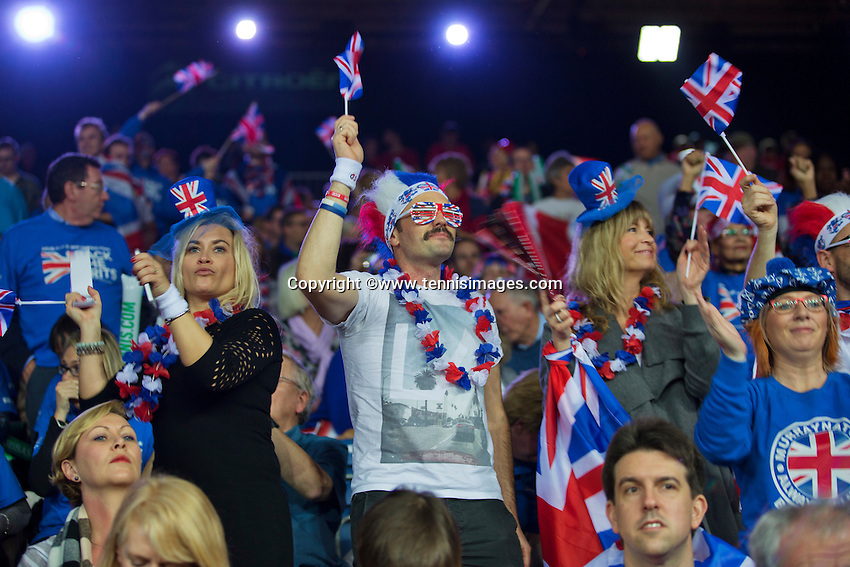 Gent, Belgium, November 27, 2015, Davis Cup Final, Belgium-Great Britain, British supporters<br /> Photo: Tennisimages/Henk Koster