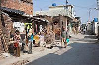 India, Dehradun.  Mid-day Street Scene in Moronwala Village, a suburb of Dehradun.