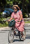Local riding a bicycle in Funafuti, Tuvalu