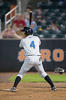 Oscar Rojas (4) of the Hudson Valley Renegades at bat against the Aberdeen IronBirds at Leidos Field at Ripken Stadium on July 27, 2017 in Aberdeen, Maryland.  The IronBirds defeated the Renegades 3-0 in game two of a double-header.  (Brian Westerholt/Four Seam Images)