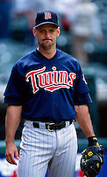 Terry Steinbach of the Minnesota Twins plays in a baseball game at Edison International Field during the 1998 season in Anaheim, California. (Larry Goren/Four Seam Images)