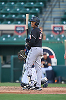 Jupiter Hammerheads Javeon Cody (27) bats during a game against the Lakeland Flying Tigers on July 30, 2021 at Joker Marchant Stadium in Lakeland, Florida.  (Mike Janes/Four Seam Images)
