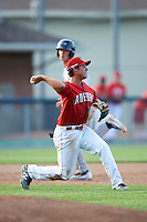 Auburn Doubledays third baseman Jake Jefferies (10) throws to second during a game against the Mahoning Valley Scrappers on June 19, 2016 at Falcon Park in Auburn, New York.  Mahoning Valley defeated Auburn 14-3.  (Mike Janes/Four Seam Images)