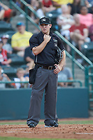 Home plate umpire Brandon Blome during the South Atlantic League game between the Kannapolis Intimidators and the hc\ at L.P. Frans Stadium on July 20, 2018 in Hickory, North Carolina. The Crawdads defeated the Intimidators 4-1. (Brian Westerholt/Four Seam Images)