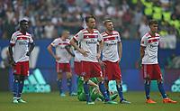 12.05.2018, Football 1. Bundesliga 2017/2018, 34.  match day, Hamburger SV - Borussia Moenchengladbach, Volksparkstadium Hamburg. 1. Abstieg des HSV,  Bakery Jatta (Hamburg) , Albin Ekdal (Hamburg) , Aaron Hunt (Hamburg) and Gian-Luca Waldschmidt (Hamburg) dejected  *** Local Caption *** © pixathlon<br /> <br /> +++ NED + SUI out !!! +++<br /> Contact: +49-40-22 63 02 60 , info@pixathlon.de