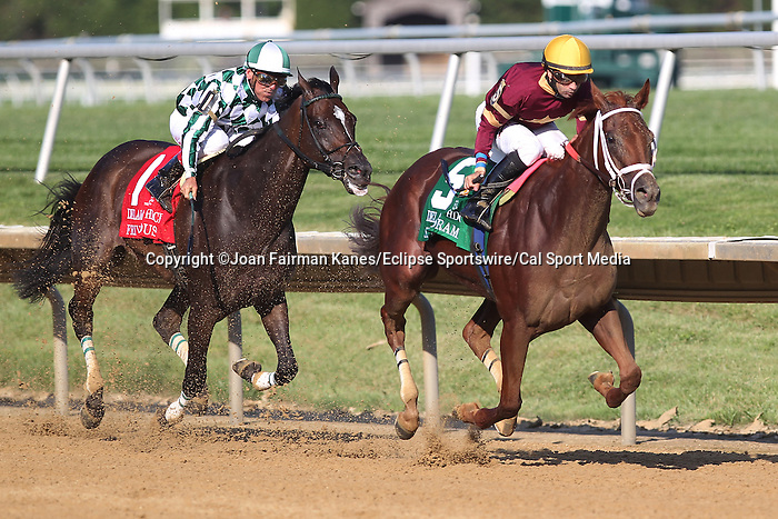 July 18, 2015: Sheer Drama, Joe Bravo up, wins the Grade I Delaware Handicap, one and 1/4 miles for fillies and mares 3 and upward at Delaware Park in Stanton DE.  Trainer is David Fawkes, owner is Harold L. Queen. #1 Frivolous, Jon Court up, was second. Joan Fairman Kanes/ESW/CSM