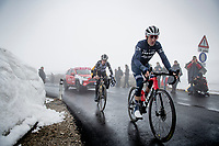 Vincenzo Nibali (ITA/Trek-Segafredo) & George Bennett (NZL/Jumbo-Visma) coming over the Passo Giau<br /> <br /> due to the bad weather conditions the stage was shortened (on the raceday) to 153km and the Passo Giau became this years Cima Coppi (highest point of the Giro).<br /> <br /> 104th Giro d'Italia 2021 (2.UWT)<br /> Stage 16 from Sacile to Cortina d'Ampezzo (shortened from 212km to 153km)<br /> <br /> ©kramon