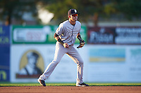 Staten Island Yankees shortstop Angel Aguilar (12) during a game against the Batavia Muckdogs on August 26, 2016 at Dwyer Stadium in Batavia, New York.  Staten Island defeated Batavia 6-2.  (Mike Janes/Four Seam Images)