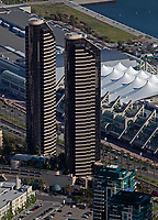 aerial photograph Harbor Club Condominiums east and west towers, San Diego, California