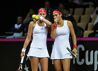 Arena Loire,  Trélazé,  France, 16 April, 2016, Semifinal FedCup, France-Netherlands, Doubles: Garcia (R)/Mladenovic (FRA)  <br /> Photo: Henk Koster/Tennisimages