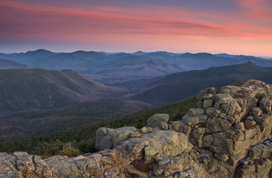 Taking in the expanse of the Pemigewasset Wilderness from the Franconia Ridge Trail at sunset