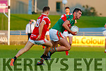 Ronan Murphy, Mid Kerry in action against Dara Moynihan, East Kerry during the Kerry County Senior Football Championship Final match between East Kerry and Mid Kerry at Austin Stack Park in Tralee on Saturday night.
