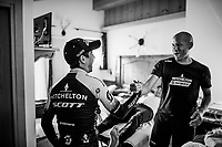 Stage 19 winner Esteban Chaves (COL/Mitchelton-Scott) arrives back at the team hotel and immediately goes to meet up with staff & fellow riders to share the joy of the win<br /> <br /> Stage 19: Treviso to San Martino di Castrozza (151km)<br /> 102nd Giro d'Italia 2019<br /> <br /> ©kramon