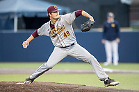 Central Michigan Chippewas pitcher Zach Kohn (49) delivers a pitch to the plate against the Michigan Wolverines on May 9, 2017 at Ray Fisher Stadium in Ann Arbor, Michigan. Michigan defeated Central Michigan 4-2. (Andrew Woolley/Four Seam Images)
