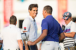 Rafael Cabrera Bello of Spain (left) congratulates Sam Brazel of Australia (right) after he wins the tournament during the 58th UBS Hong Kong Golf Open as part of the European Tour on 11 December 2016, at the Hong Kong Golf Club, Fanling, Hong Kong, China. Photo by Lucas Schifres / Power Sport Images