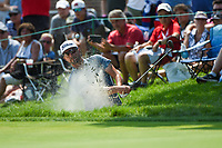 4th July 2021, Detroit, MI, USA;  Roger Sloan (CAN) hits from the trap on 18 during the Rocket Mortgage Classic Rd4 at Detroit Golf Club on July 4,