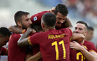 Football, Serie A: AS Roma - Sassuolo, Olympic stadium, Rome, September 15, 2019. <br /> Roma's Henrix Mikhitaryan celebrates after scoring with his teammates during the Italian Serie A football match between Roma and Sassuolo at Olympic stadium in Rome, on September 15, 2019.<br /> UPDATE IMAGES PRESS/Isabella Bonotto