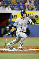 May 23rd 2008:  Infielder Alex Gordan (4) of the Kansas City Royals during a game at the Rogers Centre in Toronto, Ontario, Canada .  Photo by:  Mike Janes/Four Seam Images