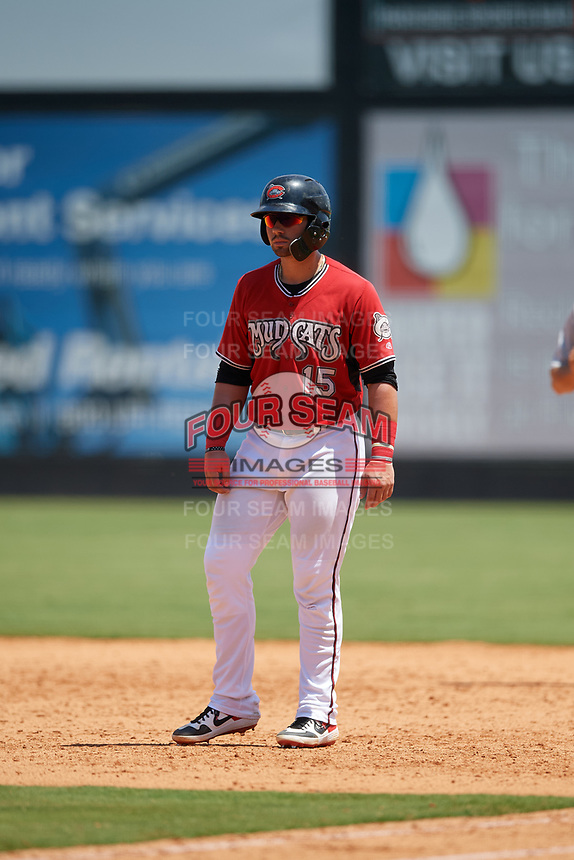 Carolina Mudcats Payton Henry (15) leads off during a Carolina League game against the Winston-Salem Dash on August 14, 2019 at Five County Stadium in Zebulon, North Carolina.  Winston-Salem defeated Carolina 4-2.  (Mike Janes/Four Seam Images)