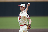Dayton Flyers relief pitcher Cameron Burford (19) in action against the Campbell Camels at Jim Perry Stadium on February 28, 2021 in Buies Creek, North Carolina. The Camels defeated the Flyers 11-2. (Brian Westerholt/Four Seam Images)