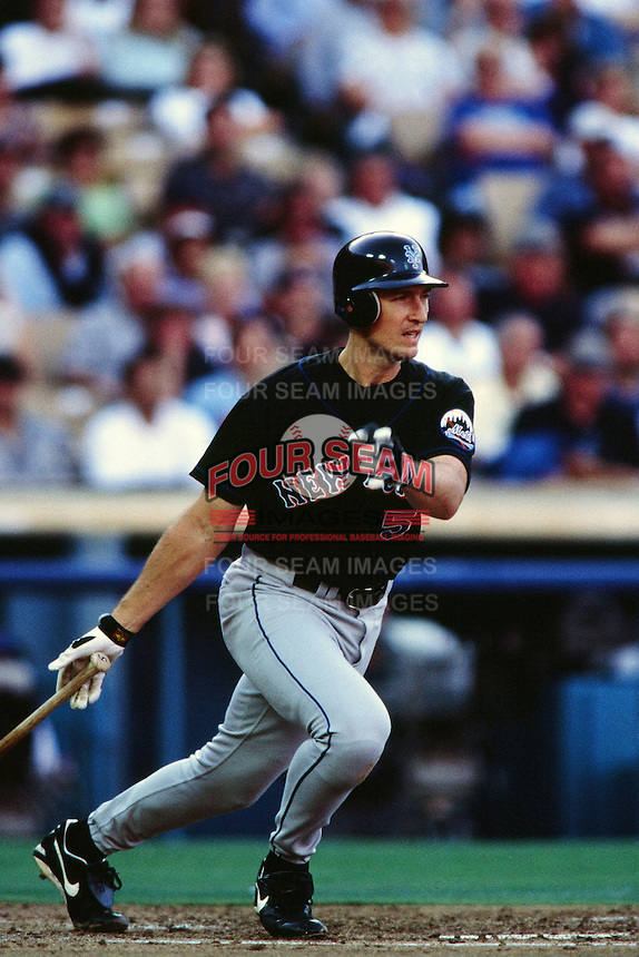 John Olerud of the New York Mets during a game against the Los Angeles Dodgers at Dodger Stadium circa 1999 in Los Angeles, California. (Larry Goren/Four Seam Images)